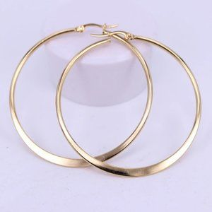 NEW 18K Yellow Gold 2.36'' Round Hoop Earrings